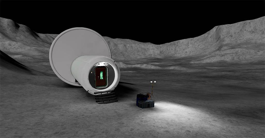 Corridoio di accesso alla serra lunare creato in realta virtuale